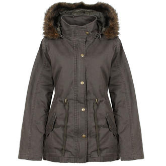View Item Khaki Parka Coat with Detachable Fur Trim Hood
